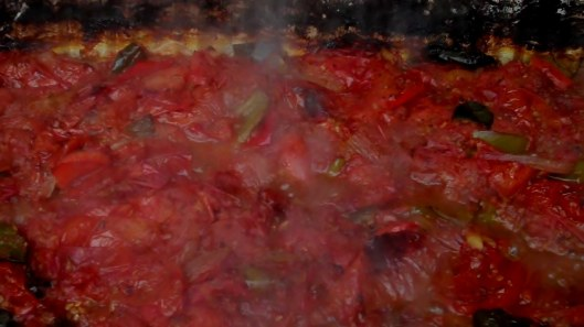 Gorgeous, steaming hot tomato mixture after a couple of hours.