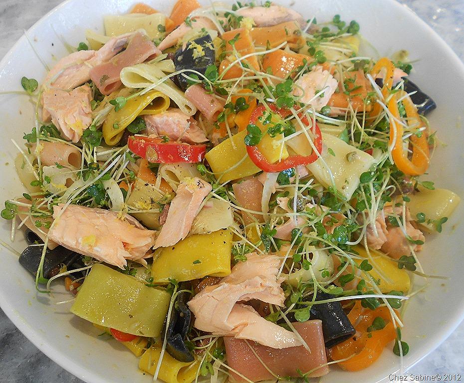 Perfect Poached Salmon Pasta Salad | Chez Sabine